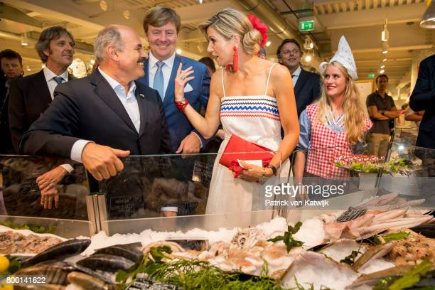 King Willem-Alexander of The Netherlands and Queen Maxima of The Netherlands visit the concept store EATALY during the third day of a royal state...