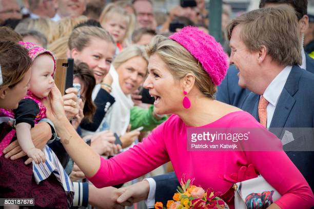 King WillemAlexander of The Netherlands and Queen Maxima of The Netherlands visit the harbor of Urk during their region visit to NoordOost Flevoland...