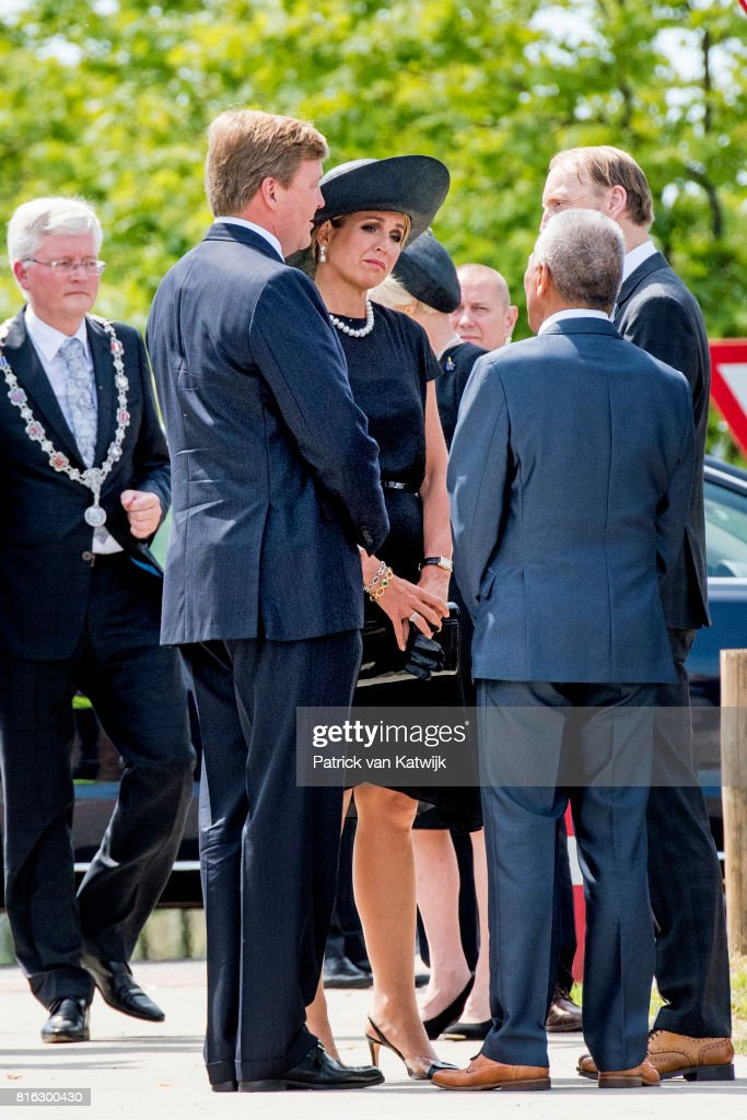King Willem-Alexander of The Netherlands and Queen Maxima of The Netherlands attend the MH17 remembrance ceremony and the unveiling of the National MH17 monument on July 17, 2017 in Vijfhuizen, Netherlands. The momument is designed by Ronald A. Westerhuis and is placed in a tree park 'Green Ribbon' designed by Robbert de Koning with 298 trees representing each victim of the MH17 crash on 17 July 2014.