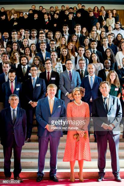 King WillemAlexander of The Netherlands and Queen Maxima of The Netherlands visits the University where they meet students on October 11 2017 in...