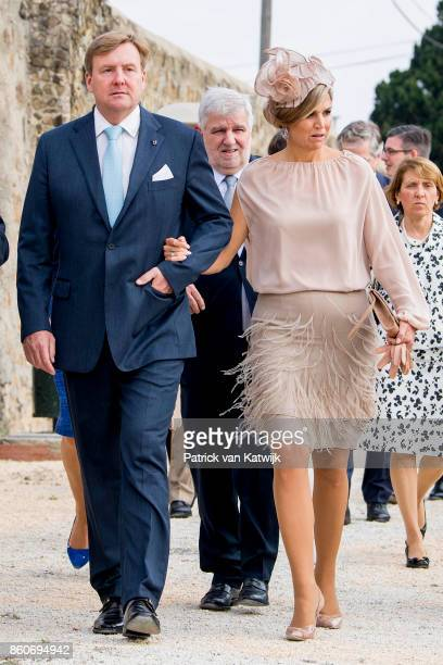 King WillemAlexander of The Netherlands and Queen Maxima of The Netherlands visit the fire brigade education center in Alverca on October 12 2017 in...