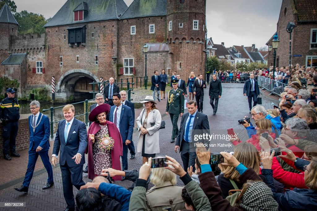 King Willem-Alexander of The Netherlands and Queen Maxima of The Netherlands visit the city of Amersfoort during their region visit to Eemnland on October 24, 2017 in Amersfoort, Netherlands. In Amersfoort the royal couple visit the Koppelpoort and Eemhuis