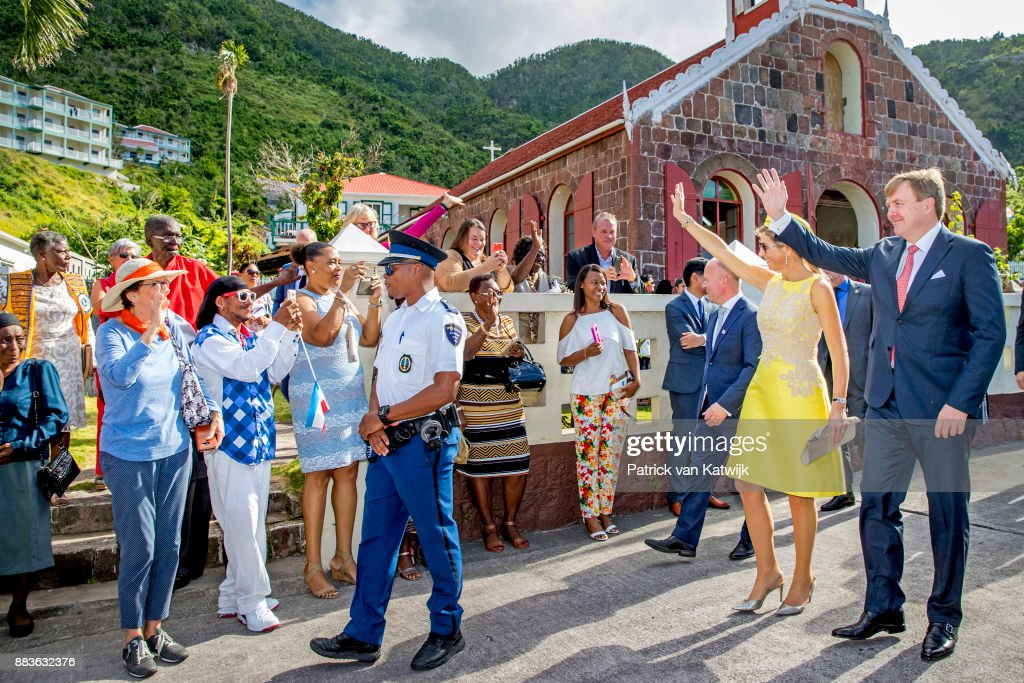 King Willem-Alexander of The Netherlands and Queen Maxima of The Netherlands attend the annual celebrations of Saba Day on December 01, 2017 in The Bottom, Saba. The King and the Queen visit Saba after the hurricane Irma damaged the island.