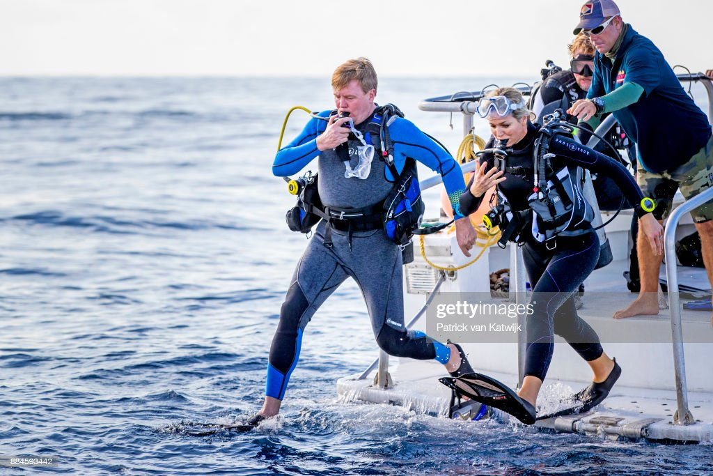King Willem-Alexander of The Netherlands and Queen Maxima of The Netherlands during the diving experience on December 01, 2017 in The Bottom, Saba.
