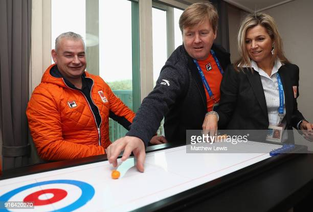 King WillemAlexander of the Netherlands and Queen Maxima of the Netherlands visit the Gangneung Athletes Village on February 10 2018 in...