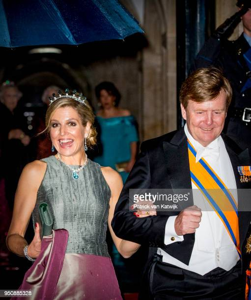 King WillemAlexander of The Netherlands and Queen Maxima of The Netherlands leave the Royal Palace Amsterdam after the Gala diner for the Corps...