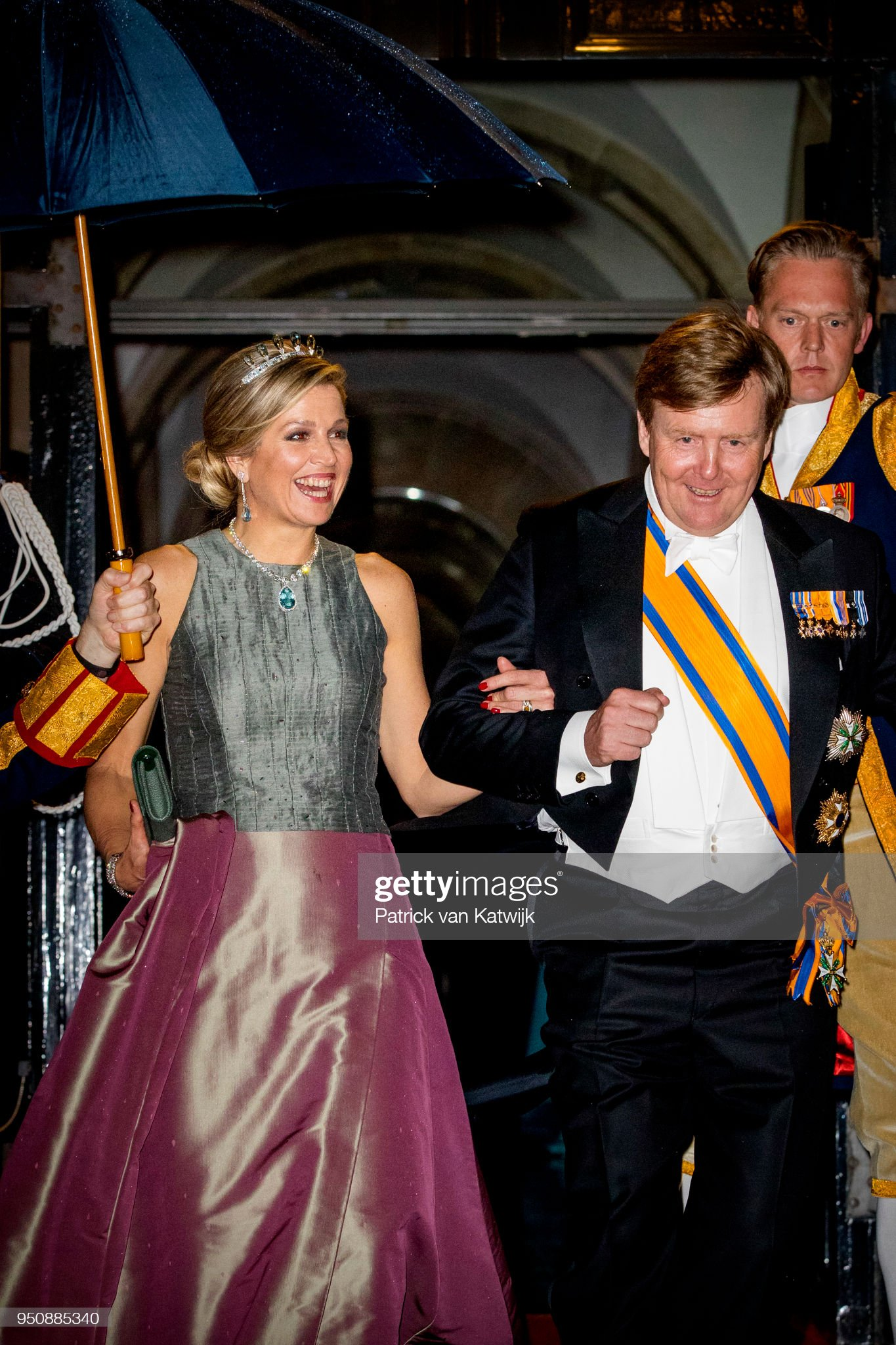 Dutch royals at gala diner Corps diplomatique at royal palace Amsterdam : News Photo
