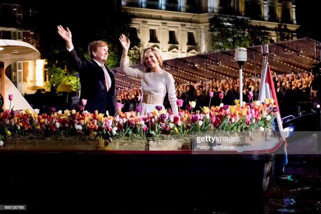 King Willem-Alexander of The Netherlands and Queen Maxima of The Netherlands attend the liberation day concert on the Amstel on May 05, 2018 in Amsterdam, Netherlands.