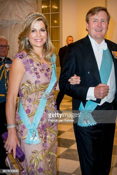 King WillemAlexander of The Netherlands and Queen Maxima of The Netherlands during the gala banquet on the occasion of The Crown Prince's 50th...