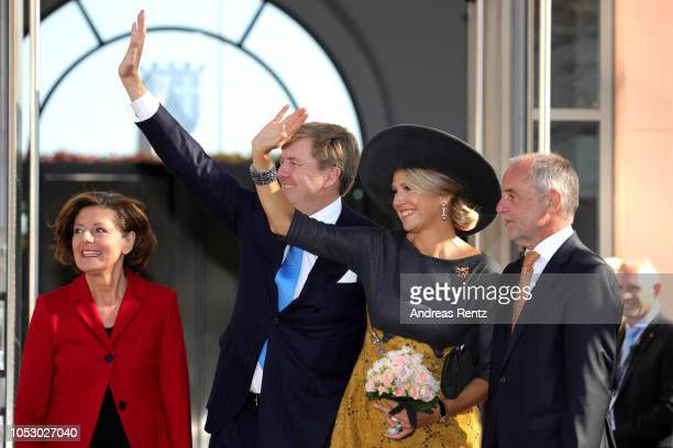 King Willem-Alexander of The Netherlands and Queen Maxima of The Netherlands arrive to meet Governor of Rhineland-Palatinate Malu Dreyer with her...
