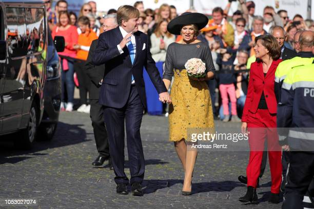 King WillemAlexander of The Netherlands and Queen Maxima of The Netherlands arrive to meet Governor of RhinelandPalatinate Malu Dreyer with her...