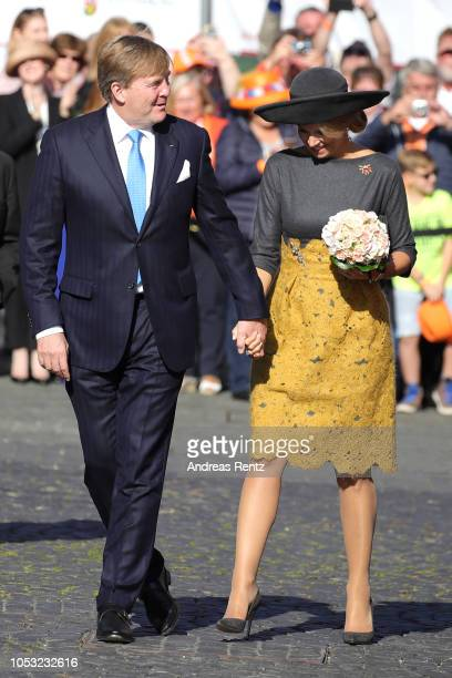 King WillemAlexander of The Netherlands and Queen Maxima of The Netherlands arrive to meet Governor of RhinelandPalatinate Malu Dreyer on October 10...