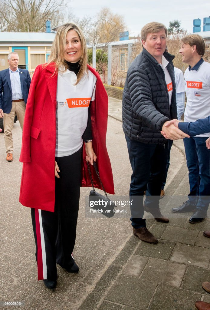King Willem-alexander of The Netherlands and Queen Maxima of The Netherlands arrive to volunteer during the NL Doet at residential care centre 't Hofland in Pijnacker on March 10, 2018 in Pijnacker, Netherlands.