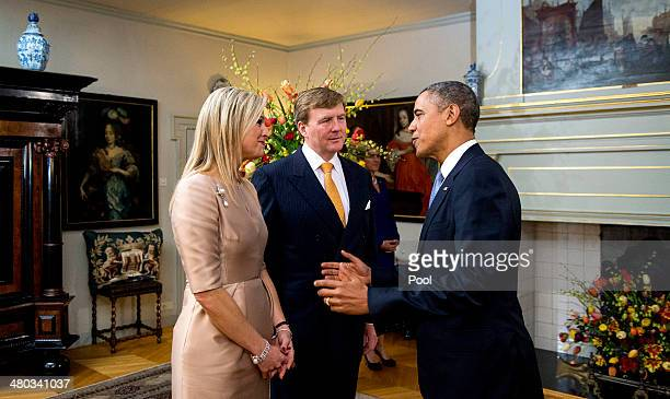 King WillemAlexander of The Netherlands and Queen Maxima of The Netherlands greet US President Barrack Obama at the Royal Palace Huis ten Bosch on...