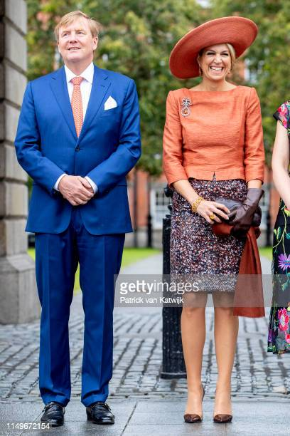 King Willem-Alexander of The Netherlands and Queen Maxima of The Netherlands vist the Long Room Library in the Trinity College where they get...