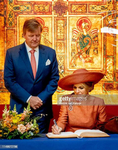 King WillemAlexander of The Netherlands and Queen Maxima of The Netherlands vist the Long Room Library in the Trinity College where they get...