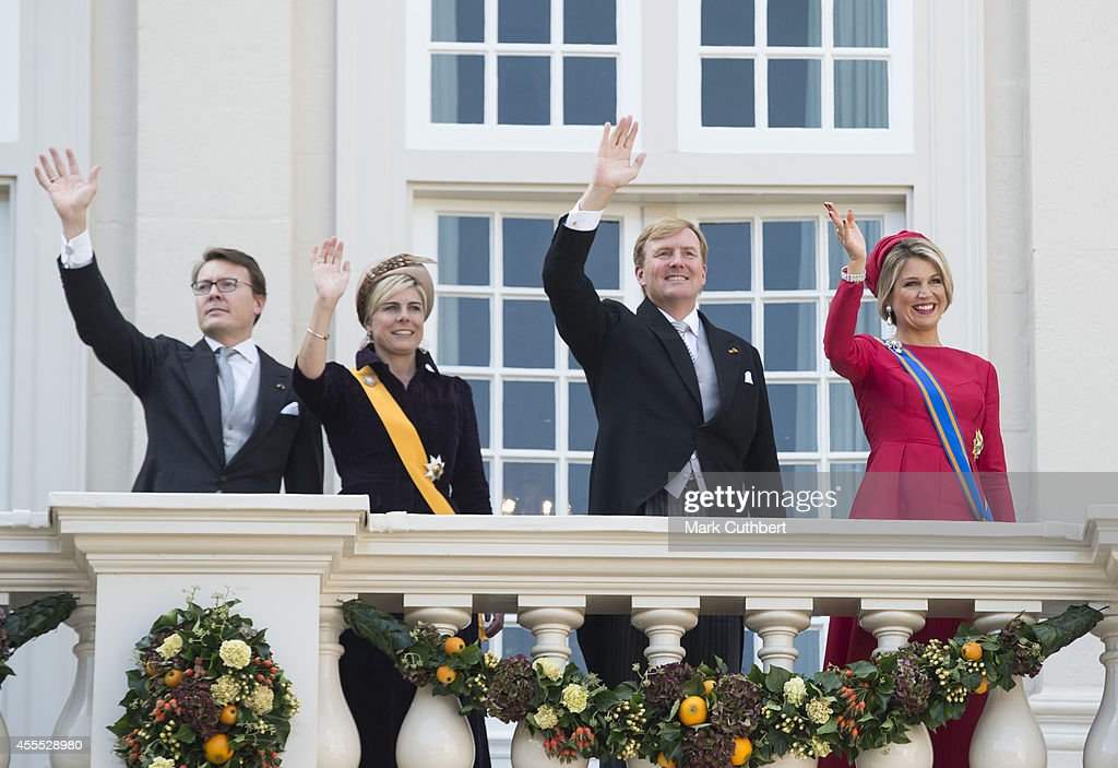 King Willem-Alexander of the Netherlands and Queen Maxima of the Netherlands with Prince Constantijn of the Netherlands and Princess Laurentien of the Netherlands on the balcony of The Noordeinde Palace during Princes day celebrations on September 16, 2014 in The Hague, Netherlands.