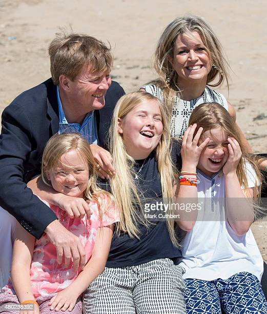 King Willem-Alexander of the Netherlands and Queen Maxima of the Netherlands with Crown Princess Catharina-Amalia of the Netherlands, Princess Alexia...