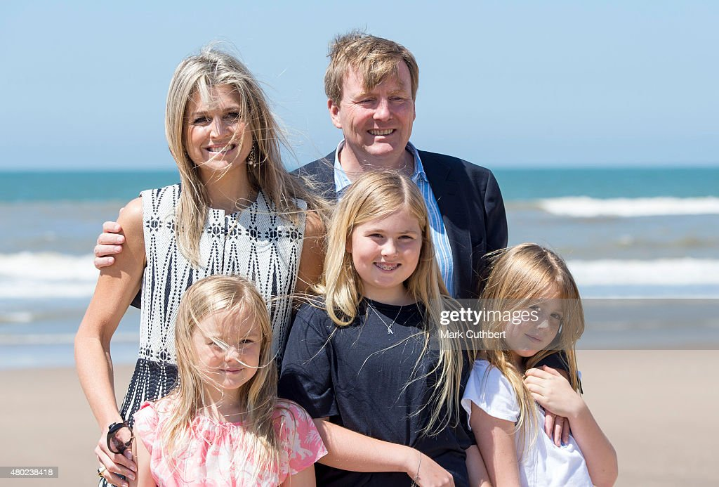 King Willem-Alexander of the Netherlands and Queen Maxima of the Netherlands with Princess Ariane of the Netherlands, Crown Princess Catharina-Amalia and Princess Alexia of the Netherlands attend the annual summer photocall on July 10, 2015 in Wassenaar, Netherlands.