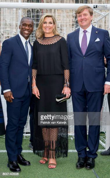King WillemAlexander of The Netherlands and Queen Maxima of The Netherlands with Clarence Seedorf attend a soccer clinic with dutch former players at...
