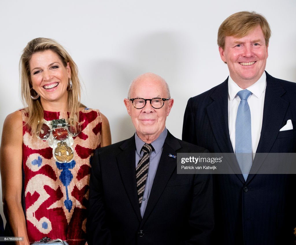 King Willem-Alexander of The Netherlands and Queen Maxima of The Netherlands with Hans van Manen (C) attend the premiere of the ballet performance Ode to the Master at the National Opera & Ballet on September 15, 2017 in Amsterdam, Netherlands. The National ballet brings a tribute to the permanent choreographer Hans van Manen, on the occasion of his 85th birthday.