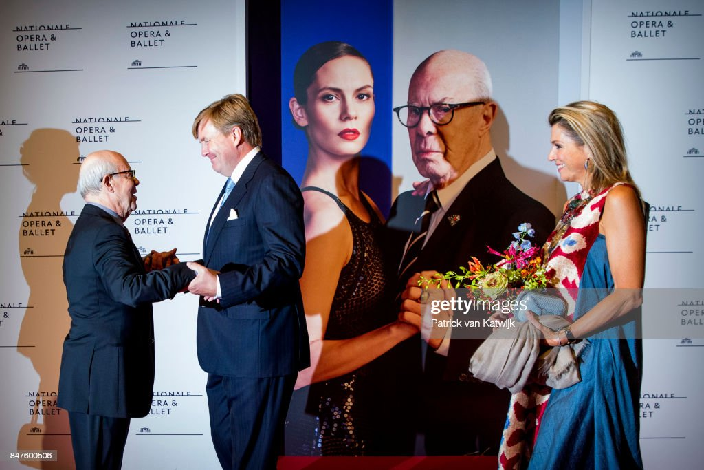 King Willem-Alexander of The Netherlands and Queen Maxima of The Netherlands with Hans van Manen attend the premiere of the ballet performance Ode to the Master at the National Opera & Ballet on September 15, 2017 in Amsterdam, Netherlands. The National ballet brings a tribute to the permanent choreographer Hans van Manen, on the occasion of his 85th birthday.
