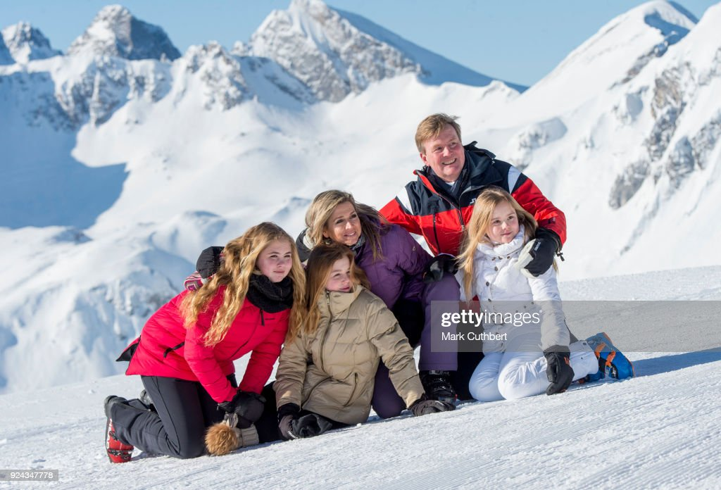 King Willem-Alexander of the Netherlands and Queen Maxima of the Netherlands with Crown Princess Catharina-Amalia of the Netherlands, Princess Alexia of the Netherlands and Princess Ariane of the Netherlands attend a photocall during a skiing trip on February 26, 2018 in Lech, Austria.