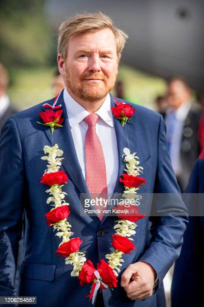King WillemAlexander of The Netherlands arrives at the airport on March 9 2020 in Jakarta Indonesia The Dutch King and Queen are in Indonesia for an...