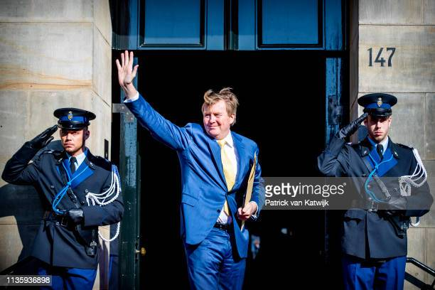 King Willem-Alexander of The Netherlands arrives at the Royal Palace for the annual gala diner for the Diplomatic Corps on April 09, 2019 in...