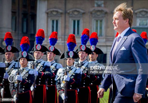 King Willem-Alexander of The Netherlands attends a commemoration ceremony and lay down a wreath at the Altare della Patria during the first day of a...