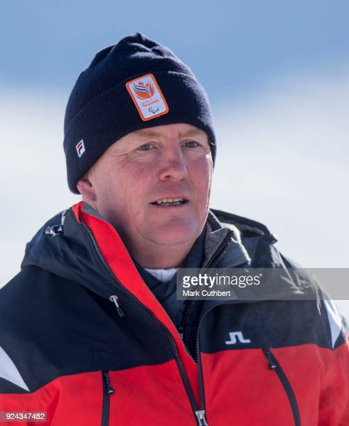 King WillemAlexander of the Netherlands attends a photocall during a skiing trip on February 26 2018 in Lech Austria