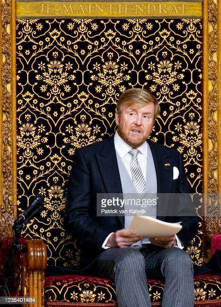 King Willem-Alexander of The Netherlands attends Prinsjesdag the annual opening of the parliamentary year in the Grote Kerk on September 21, 2021 in...