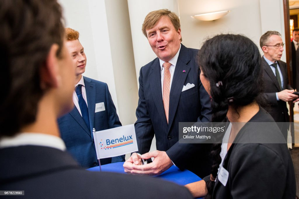 King Willem-Alexander of the Netherlands attends the 60 years Benelux Council celebration in the Royal Palace on June 5, 2018 in Brussels, Belgium.
