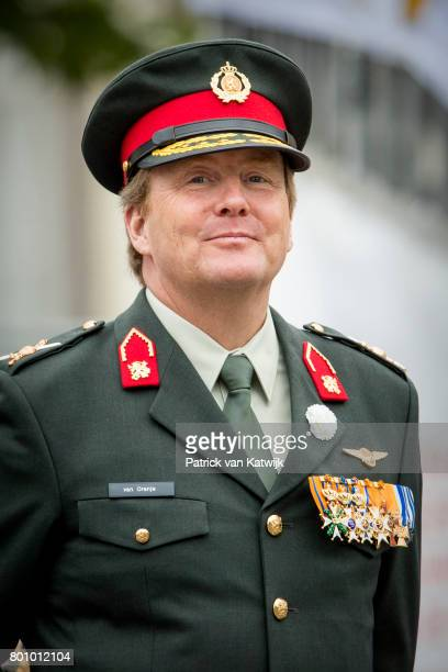 King WillemAlexander of The Netherlands attends the annual Veterans Day ceremonies at the Binnenhof in The Hague on June 24 2017 in The Hague...