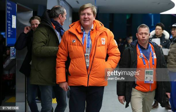 King Willem-Alexander of the Netherlands attends the short-track events during the 2018 Winter Olympic Games at Gangneung Ice Arena on February 13,...