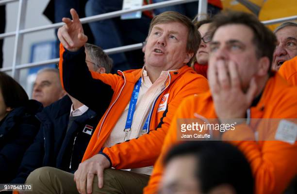 King Willem-Alexander of the Netherlands attends the Speed Skating Ladies' 1500m during the 2018 Winter Olympic Games at Gangneung Oval on February...