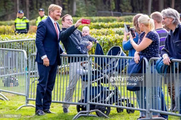 King Willem-Alexander of The Netherlands attends their region visit to South-West Drenthe on September 18, 2019 in Hoogeveen, Netherlands.