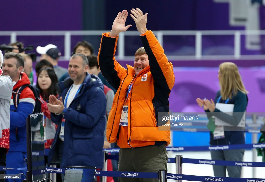 King Willem-Alexander of the Netherlands celebrates the gold medal of countryman Sven Kramer in the Speed Skating Men's 5000m during the 2018 Winter Olympic Games at Gangneung Oval on February 11, 2018 in Gangneung, Pyeongchang, South Korea.