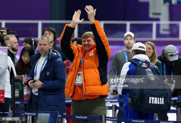 King Willem-Alexander of the Netherlands celebrates the gold medal of countryman Sven Kramer in the Speed Skating Men's 5000m during the 2018 Winter...