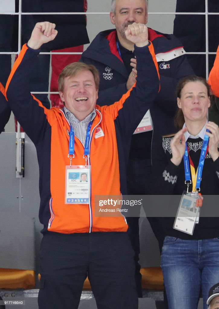 King Willem-Alexander of the Netherlands celebrates the Gold medal of Kjeld Nuis of the Netherlands during the Men's 1500m Speed Skating on day four of the PyeongChang 2018 Winter Olympic Games at Gangneung Oval on February 13, 2018 in Gangneung, South Korea.