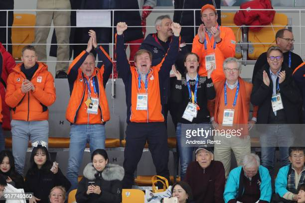 King WillemAlexander of the Netherlands celebrates the Gold medal of Kjeld Nuis of the Netherlands during the Men's 1500m Speed Skating on day four...