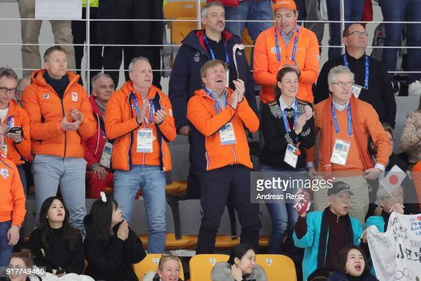King Willem-Alexander of the Netherlands celebrates the Gold medal of Kjeld Nuis of the Netherlands during the Men's 1500m Speed Skating on day four...