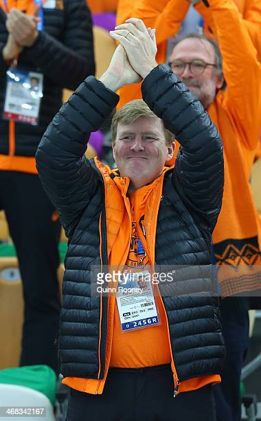 King WillemAlexander of the Netherlands congratulates medalists after the Men's 500 m Race x of 2 Speed Skating event during day 3 of the Sochi 2014...