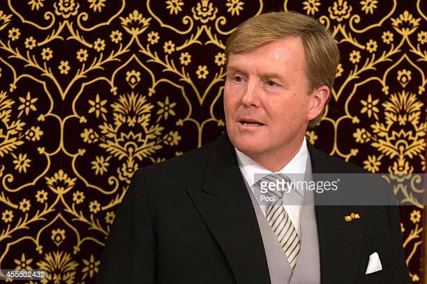 King WillemAlexander of the Netherlands delivers an address to the government on budget day in the Hall of Knights on September 16 2014 in The Hague...