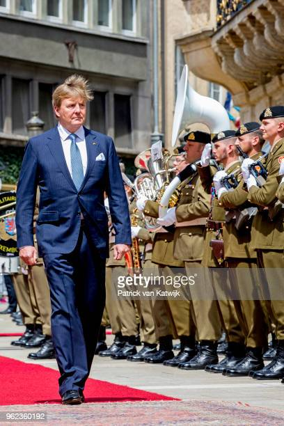 King WillemAlexander of The Netherlands during an official farewell ceremony at the Grand Ducal Palace of Luxembourg on May 25 2018 in Luxembourg...
