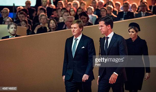 King Willem-Alexander of the Netherlands, Dutch Prime Minister Mark Rutte, Queen Maxima of the Netherlands attend a national commemoration ceremony...