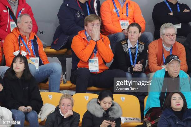 King Willem-Alexander of the Netherlands gestures during the race of Kjeld Nuis of the Netherlands during the Men's 1500m Speed Skating on day four...