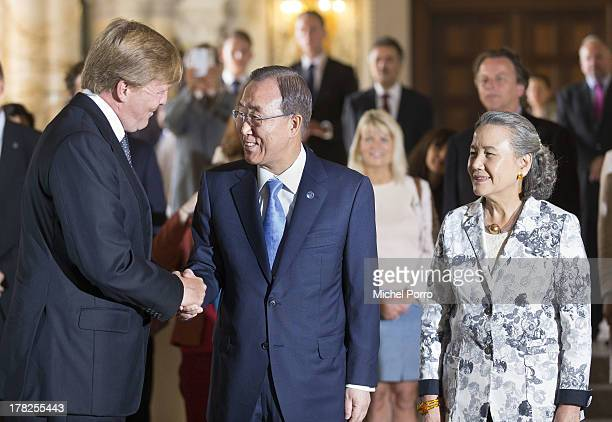 King Willem-Alexander of The Netherlands greets United Nations Secretary General Ban Ki-moon and Yoo Soon-taek attends an event to mark the...