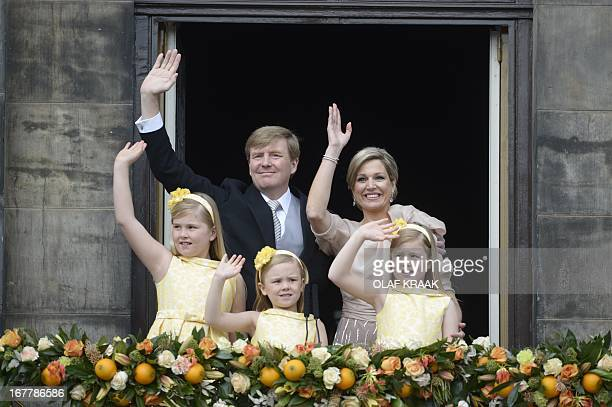 King WillemAlexander of the Netherlands his wife Queen Maxima and their children CatharinaAmalia Princess of Orange Princess Ariane and Princess...