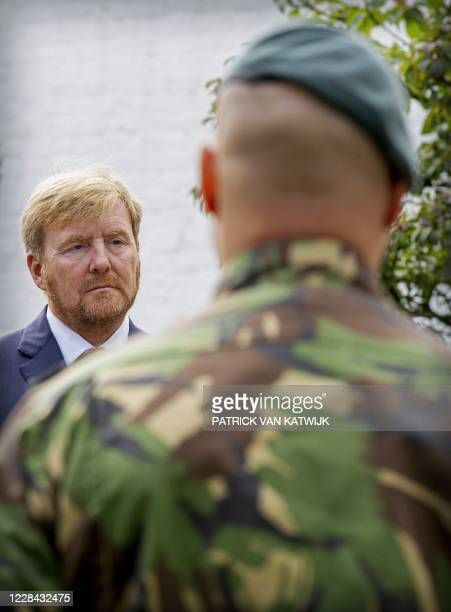 King Willem-Alexander of The Netherlands in front of a soldier during his working visit to an Human Recources testing ground of the Ministry of...